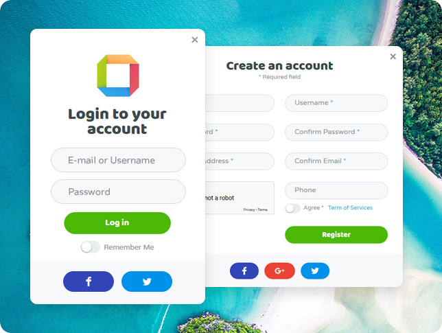 Login & Register - Rounded Theme