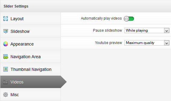 Layer Slider Video Settings