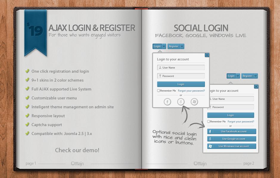 Improved AJAX Login & Register 2.313 - J!2.5/3.x