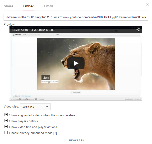 Youtube embedding